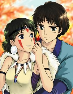 "Ashitaka and San of ""Princess Mononoke"". This makes me want to watch the movie again..."