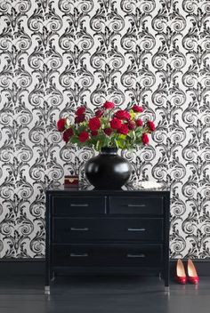 b wallpaper, red accents--For the perfect wallpaper call Concept Candie Interiors---wallpaper