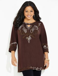 Woodland Tunic | Catherines Our beautifully embroidered top stuns with its intricate soutache design. Metallic stitching throughout give this piece a shimmering finish. Scoop neckline. Three-quarter sleeves. Side slits at hem. Style available in both average and petite plus sizes. #catherines #plussize #plussizefashion #pluspetite #fallfashion