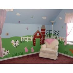"a farm theme nursery. The more ""farm and animal"" theme side could be for the boy, and the girly side could be a colorful, full tree, a bird mobile, clouds, etc."