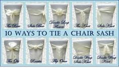 Look at all you can do with one little chair sash. We offer white satin, ivory satin, and now silver organza.