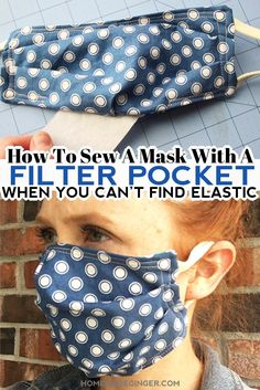 Learn how to sew a mask with a filter pocket when you can't find elastic. Use headbands or ponytail holders instead of elastic for this filter pocket mask! #homemadegingerblog #diyfacemask #howtosewafacemask