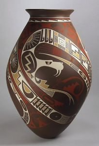 Mata-Ortiz-Pottery-by-Rodrigo-Perez-Snake-Olla $545