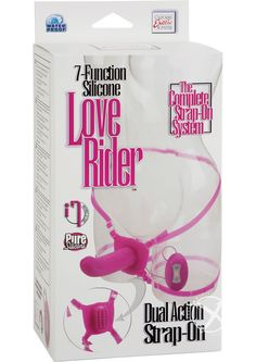 """LOVE RIDER DUAL STRAP ON PINK - Two toys in one! Premium solid vibrating Silicone probe with powerful dual motors. Incredibly textured self stimulating butterfly. 7 powerful functions of vibration, pulsation, and escalation in probe and butterfly. Power packed. Easy touch controller with LED lights. Easy on/off button. Fully adjustable and removable Silicone waist and thigh straps fits up to 42+""""/106.75+ cm waist. Silicone (harness, probe) ABS (clasps, controller)."""