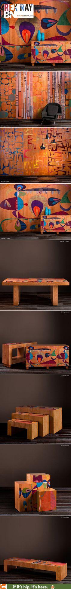 intérieur, déco : Rex Ray for B+N Industries. panneaux de bois et mobilier peint, peinture décorative