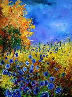 """""""Blue cornflowers and orange tree"""" by Calimero. Oil on canvas."""