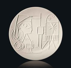 Pablo Picasso (1881-1973) Jacqueline au chevalet stamped and marked 'Madoura Plein Feu/Empreinte Originale de Picasso/Exemplaire Editeur' (underneath) unglazed white earthenware plate Diameter: 16 5/8 in. (42.3 cm.) Conceived in 1956 and executed in an edition of 100