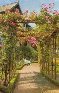 """PEDER MONSTED, Danish (1859-1941), """"Entrance to Ho"""