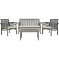 Clean and contemporary, the Carson 4-piece outdoor set recalls the simplicity of Danish furniture design.