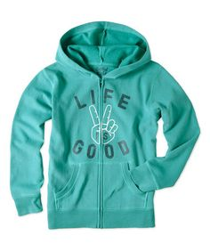 Loving this Teal Blue Peace Sign Logo Hangout Hoodie - Boys on #zulily! #zulilyfinds