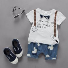 Cheap newborn boy set, Buy Quality baby boys clothes set directly from China baby boy clothes Suppliers: 2018 summer children clothing baby boys outfit print t shirt+mouse pant baby boy clothes set roupa infantil newborn boy set Baby Outfits, Boys Summer Outfits, Kids Outfits, Baby Boy Fashion, Fashion Kids, Baby Boy Dress, Baby Suit, Boy Onesie, New Baby Boys