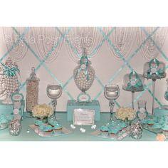 Tiffany blue bridal shower or wedding dessert station. Tiffany Blue Weddings, Tiffany Theme, Tiffany Party, Tiffany Wedding, Tiffany's Bridal, Blue Bridal, Bridal Luncheon, Bridal Shower Desserts, Blue Birthday