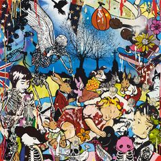 """Death at the Parade by Dan Baldwin £500.00 Silkscreen  Signed Limited Edition of 125 73cm x 73cm To buy now or enquire: Call: +44 (0)20 7240 7909 Email: info@lawrencealkingallery.com """"I've always wanted my work to be about life, and within that it can go anywhere.""""- Dan Baldwin  Death at the Parade is a signed limited edition, 24-colour Silkscreen print with a Glaze and Diamond Dust finish."""