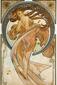 Print of ART NOUVEAU Lady with Long Brown by ArtdeLimaginaire, $9.99
