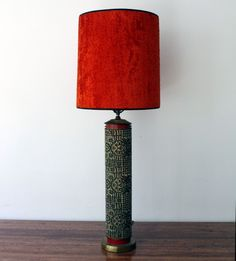 Incredible 1940s Wallpaper roll lamp; this thing has a lot going on. Intricate inlaid design of repetitive geometric vs. organic patterns. Red black rimmed shade give the whole piece an oriental feel. I daresay it's unique. American. #988. SOLD 37″ tall. 6″ diameter. Shade is 15″ tall. 13″ diameter | MANLY VINTAGE
