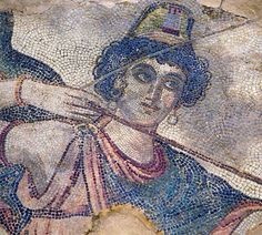 "Wearing a Phrygian cap, the Amazon Penthesilea is about to send an arrow in a hunting scene with several animals and Amazons.The 5-6 th century floor mosaic can be found in the ""Villa of the Amazons"", a palatial house, that probably belonged to an important administrator of the Eastern Roman (Byzantine) Empire, who lived in Edessa (nowadays called Urfa).Aleppian Gardens (Haleplibahçe),"