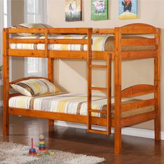 $279.99 (on sale) Solid Wood Twin Bunk Bed - Honey