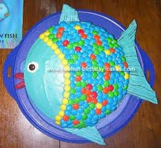 I got the idea off of the internet after combining other ideas and using the fish in the book Rainbow Fish for my color concept. The rainbow fish cake Fish Cake Birthday, Cool Birthday Cakes, Birthday Fun, Birthday Ideas, Rainbow Fish, Cute Cakes, Baby Shower, Creative Cakes, Cakes And More