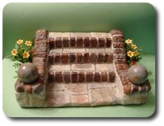 CDHM Artisan Tracy Topps of Minis On The Edge created these landscaped steps for your 1:12 dollhouse, vignette, or roombox