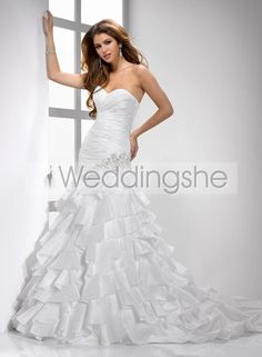 Elegant A-Line Sweetheart Chapel Train Tiered Custom Made Wedding Dress