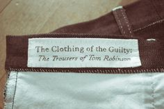THE CLOTHING OF THE GUILTY: THE TROUSERS OF TOM ROBINSON  Source ☛ Cameron Foden & Punkgeisha