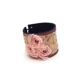 Shabby chic bracelet Fashion woman burlap  ❤by julishland
