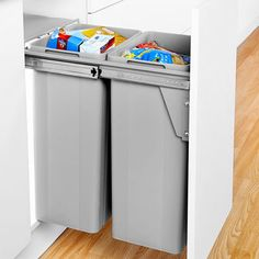 £125 - Bin - Wesco dual pull out waste bin (64 ltr) suitable for 400mm wide cabinets with two removable containers. This quality bin is designed to attach to your full height cabinet door for easier access