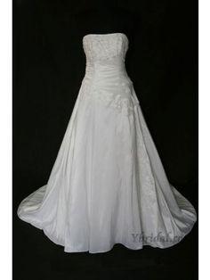 A-line Strapless Semi-Cathedral Train Empress Taffeta Wedding Dress WAL0089