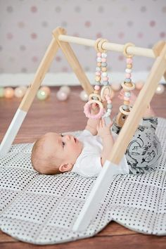 Baby Pink Wooden Baby Play Gym Toys Silicone and Wood Baby