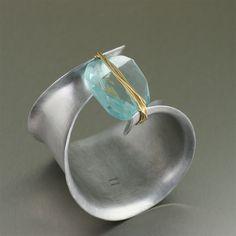Anticlastic Aluminum Cuff with Faceted Blue Quartz Gemstone
