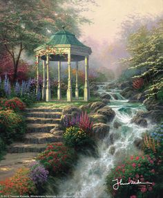 """Sweetheart Gazebo [2002] ©Thomas Kinkade """"For me, """"Sweetheart Gazebo"""" is a modest palace of love. At once intimate and expansive, private and open, this most romantic shelter presents an image of the dual nature of love. Like the gazebo, love is private, comfortable, comforting; at the same time, love embraces the world and opens to its beauties."""""""
