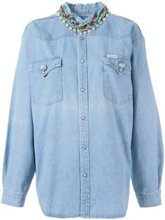FORTE COUTURE stoned collar denim shirt. #fortecouture #cloth #shirt