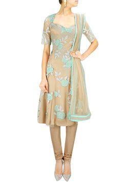 Nude green patchwork and sequins embroidered kurta set. BY SHEHLA KHAN.