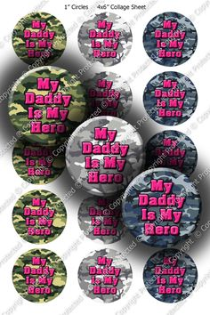 Pre-Cut 1 Inch Circle - Military Heros - Army, Navy, Air Force, Marines