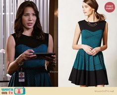 Angela's blue striped dress on Bones.  Outfit Details: http://wornontv.net/29695/ #Bones