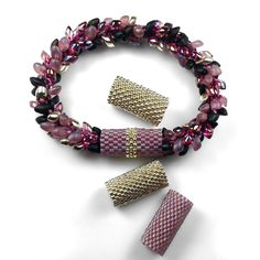 Peyote Stitch Sleeves for Kumihimo Bracelet with Long Magatamas & C-Lon Tex 400 Bead Cord