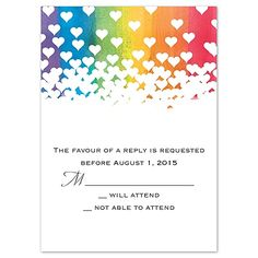 Rainbow Hearts - Response Card and Envelope