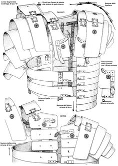 "Structure of the Lorica Segmentata (a modern term--historians aren't sure what Romans called it), also known as band armor, ""Corbridge Type A"". Sca Armor, Samurai Armor, Medieval Armor, Lamellar Armor, Armadura Medieval, Armadura Cosplay, Roman Armor, Ancient Armor, Empire Romain"