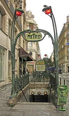 Art Nouveau Entrance to the Paris Metro at Reaumur-Sebastopol - 1904 - by Hector Guimard (French, 1867-1942) - Photo by Eric Parker -