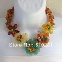 FREE SHIPPING Multicolor Genuine Semiprecious Flower Garland Necklace