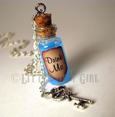 "Alice In Wonderland ""Drink Me"" corked bottle with glittery blue liquid & key charm necklace with 24"" silver chain"