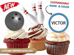 Customizable BOWLING party, bowling Cupcake toppers, Instant Download, Customizable, bowling printables, team sports, Personalized by VICTORSTORE on Etsy