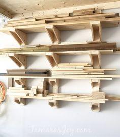 Garage Workshop Organization, Diy Garage Storage, Diy Garage Shelves, Shop Storage, Storage Cart, Storage Design, Storage Hacks, Storage Shelves, Lumber Storage Rack
