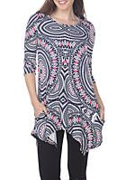 This flattering tunic from White Mark drapes stunningly on your body. With a bold, flirty print, sleeves and side pockets, you are sure to feel comfortably stylish all day. Tunic Designs, Maternity Tunic, Evening Tops, Bold Fashion, Tunic Tops, Tunics, Midi Skirt, Pockets, Printed