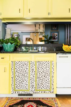 A Home Bursting with Color, Pattern & Love in Greenville, SC – Design*Sponge Create A Board, Condo Decorating, Dream Apartment, Wood Pieces, Boy Room, Home Furniture, Amanda, Kitchen Cabinets, Yellow