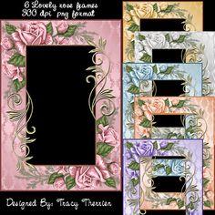 Rose Frames - $1.99   DELIGHTFUL-DOODLES.COM  Designer and crafting resources.