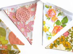 Vintage Retro Pink Peach Floral  Flag Bunting. Shabby Chic Party Decoration