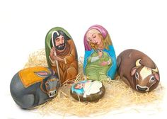 painted rock nativity, Gorgeous!