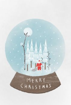 Snowball by Yeon Ju Choi (via Behance). Christmas Time Is Here, Merry Christmas Card, Christmas Mood, Xmas Cards, Vintage Christmas, Christmas Crafts, Christmas Decorations, Xmas Wallpaper, Cute Christmas Wallpaper