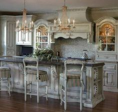 victorian style kitchens with double crystal chandelier and island ...
